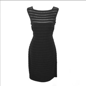 Tadashi Shoji black bandage mesh stripe yoke dress